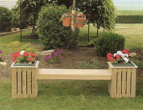 garden bench with planters amish pine outdoor country bench planter with plastic pot