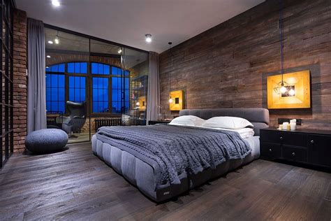 masculine bedroom high end bachelor pad design stunning loft in kiev by