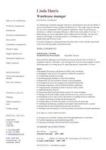 Sle Warehouse Manager Resume by Warehouse Manager Resume Sle Best Business Template