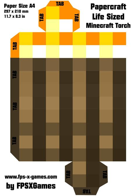 Minecraft Papercraft Torch - printable papercraft cut out minecraft sized torch