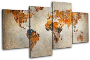 World Map Wall Art by World Map Atlas Large Canvas Art Print Box Framed Picture