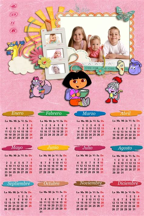 calendarios para photoshop calendario para el 2016 de la calendarios para photoshop calendario infantil 2016 dora