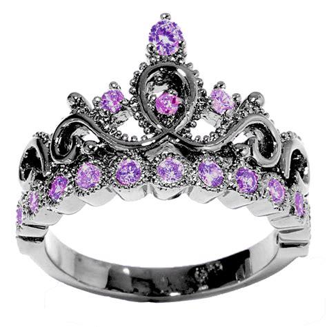 feb birthstone color 14k gold princess crown genuine amethyst birthstone ring