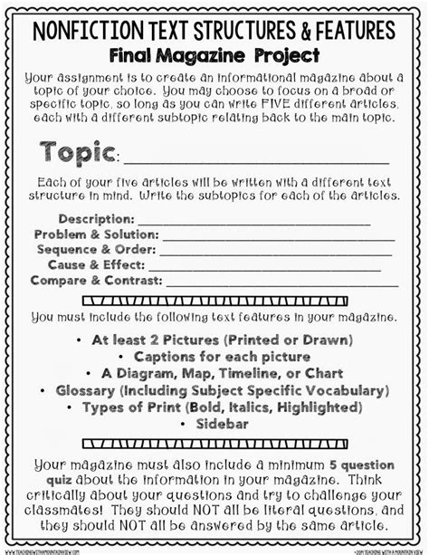 Nonfiction Text Features Worksheet by Nonfiction Text Structures Features Cumulative