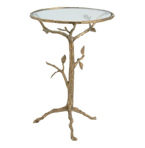 Branch Table by Sherwood Sculpted Tree Branch Antique Brass Side Table S