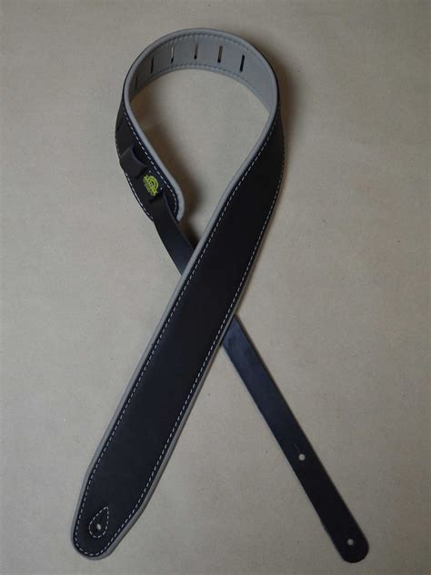 upholstery straps padded upholstery leather guitar strap black grey