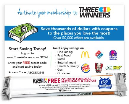 three winners coupons