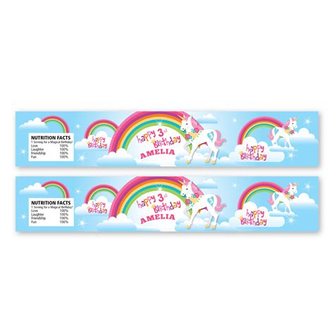 printable unicorn labels rainbow unicorn water bottle label customized printable