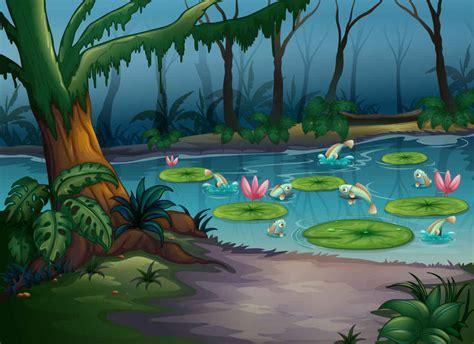 wallpaper alam rar jungle trees cartoon background