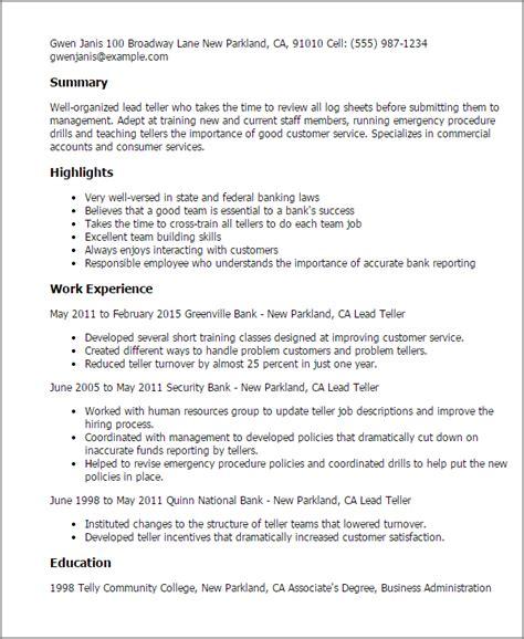 Teller Resume Exles by Teller Resume Sle Kerrobymodels Info