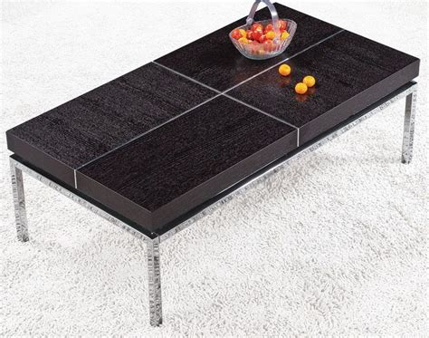 rectangular coffee table with metal base and wood top