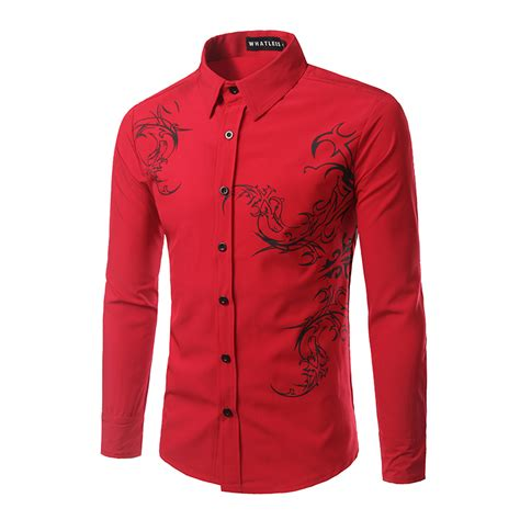 pattern shirt mens dragon pattern men shirt long sleeve casual mens dress