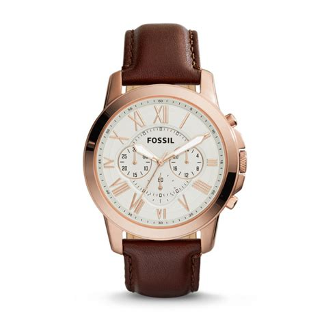 Fossil Fs 5000 Chronograph grant chronograph brown leather fossil