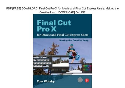 final cut pro x free pdf free download final cut pro x for imovie and final