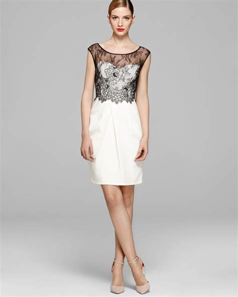 Color Dress vera wang dress color block lace overlay in white white black lyst