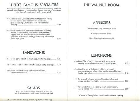 walnut room menu the walnut room menu marshall fields department store chicago illinois 1950 s ebay