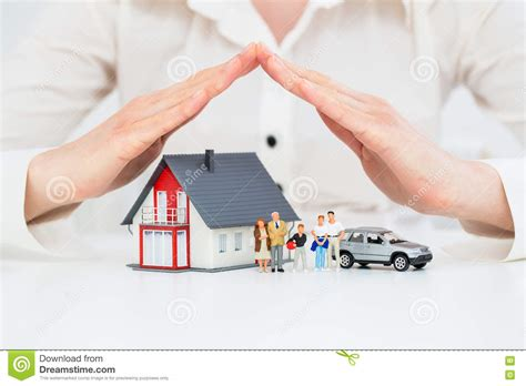 home protection plan insurance insurance home live car protection concept stock photo