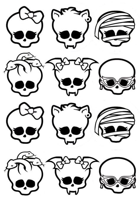 monster high skullette coloring pages t 234 te de mort monster high 224 d 233 cliner en badges ou en