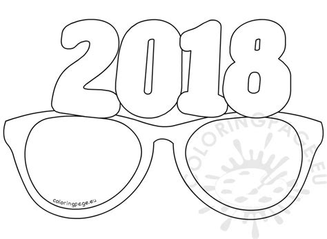 new year 2018 colouring pages paper glasses 2018 coloring page