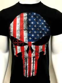 usa flag punisher skull t shirt tactical 100 cotton new