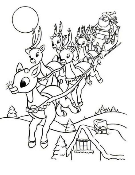 elf sized coloring pages rudolph and santa leigh reindeers coloring page animal