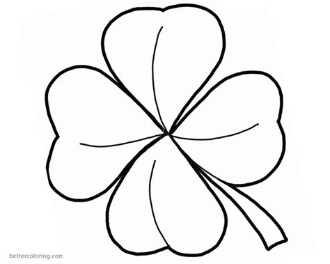 Coloring Page 3 Leaf Clover by Lucky Clover Coloring Page Coloring Pages