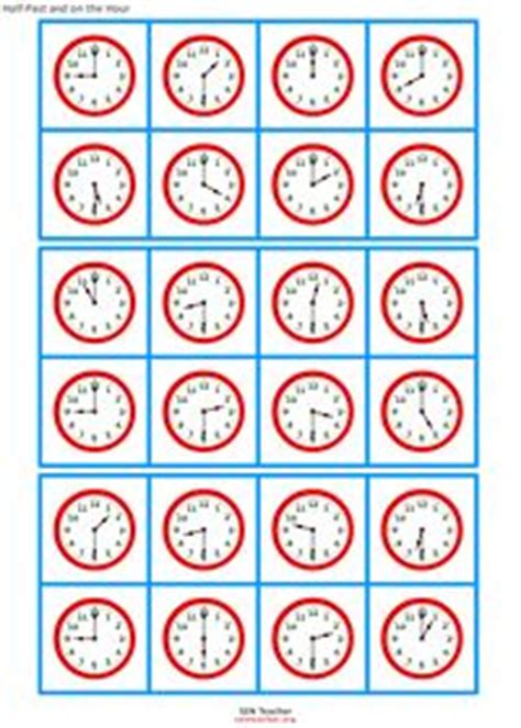 free printable clock bingo cards telling time bingo game to the hour and half hour to