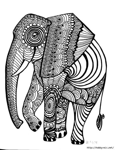 printable zentangle outlines elephant coloring pages colouring adult detailed advanced