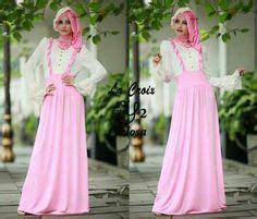 Gamis Jumbo Warna Pink Hasna Gamis 3in Set Blouse Rok Pashmina Bahan