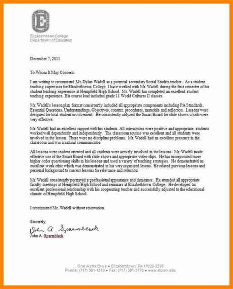 Sle Recommendation Letter For A Weak Student 5 Letter To High School 28 Images Letter Of