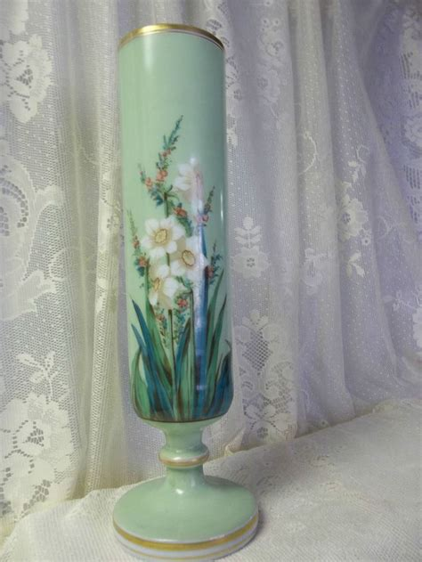 vintage antique cylinder pedestal glass bud vase
