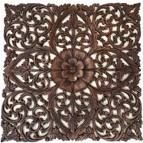 carved wood wall plaques large square floral wood wall hangings carved wood wall