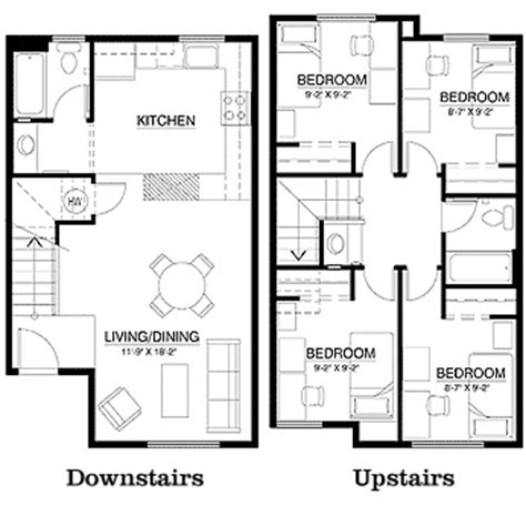 small townhouse plans cus corner townhouse floor plan 4 bedrooms 2 bathroom