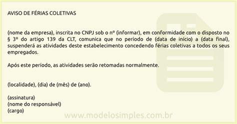 webmail interno modelo de aviso de f 233 rias coletivas