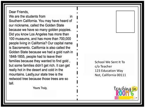 50 State Postcard Exchange Adding A Bit Of Tech Teaching In Room 6 Postcards To Students Template