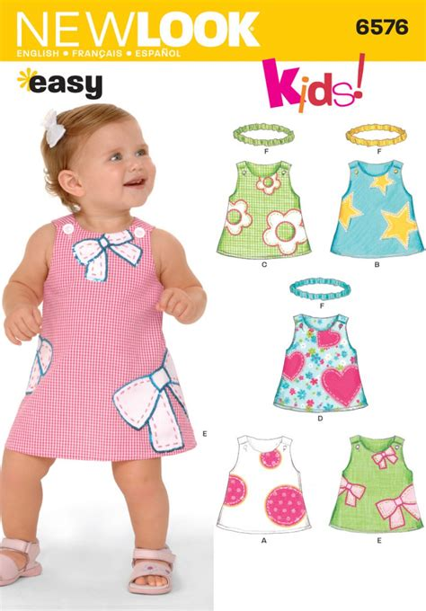 pattern a line dress toddler new look 6576 babies dress sewing pattern