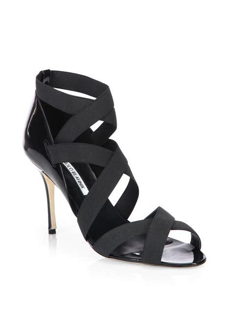 Sandal Elastis Black lyst manolo blahnik platee elastic strappy sandals in black