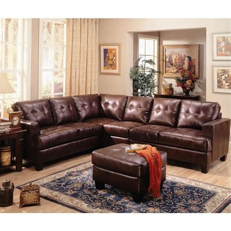 living room leather couch coaster samuel 4 piece leather sectional sofa in chocolate