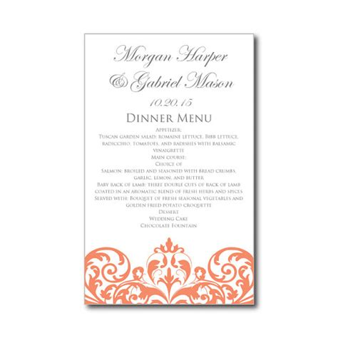 wedding menu card template word wedding menu card template instant damask