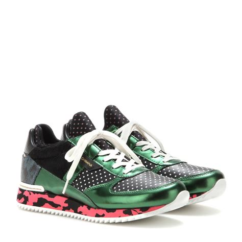 dolce gabana sneakers lyst dolce gabbana leather and fabric sneakers in green