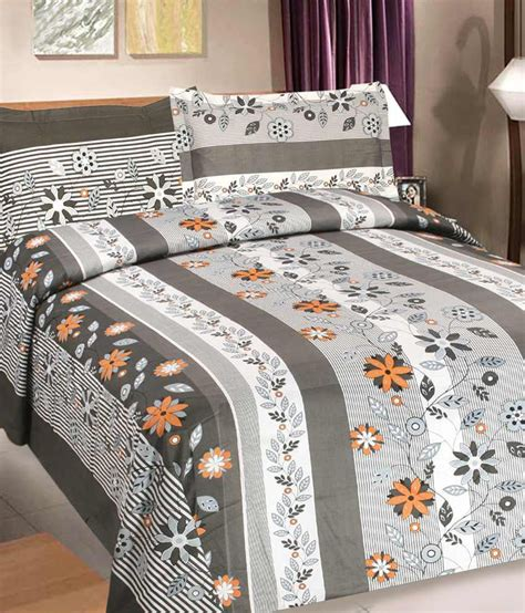 goodwill beds goodwill gray floral cotton double bed sheet with 2 pillow
