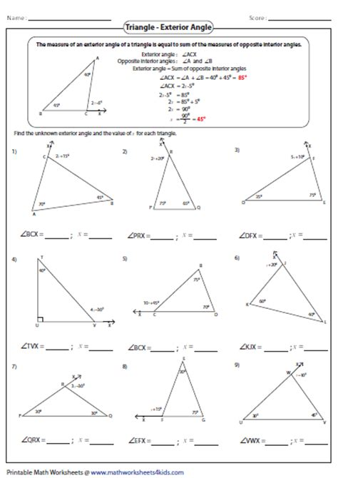 Angles Of Triangles Worksheet by Interior Angles Of A Triangle Worksheet Worksheets