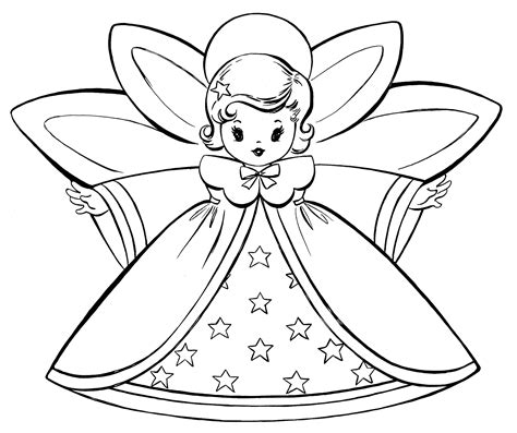 printable christmas tree fairy free christmas coloring pages retro angels the