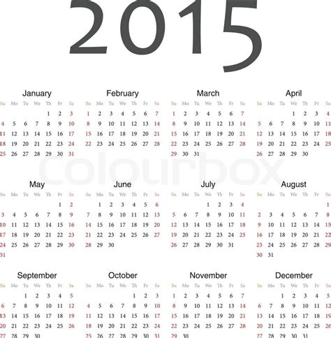 2015 Calendar By Month Yearly Calendar By Month 2015 Yearly Calendar Template