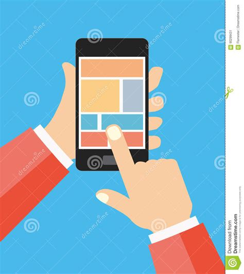 layout editor cell flat hands holding cell phone flat design with icon set