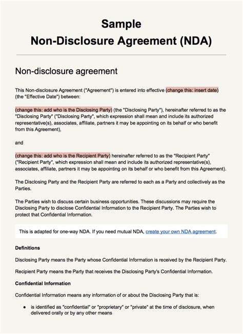 Sle Non Disclosure Agreement Template Everynda Exle Of Non Disclosure Agreement Template