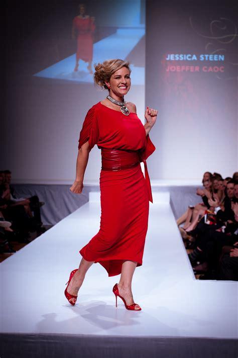 fashion has heart charity extravaganza file jessica steen wearing joeffer caoc heart and stroke