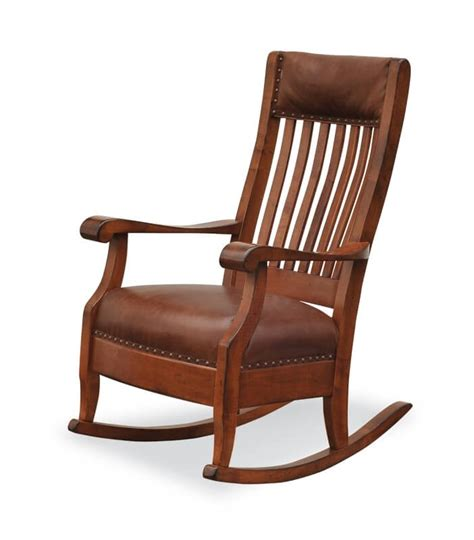 Brown Leather Rocking Chair by Amish Made S Rocking Chair Country