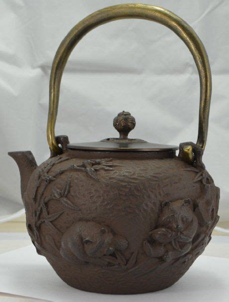 See Tea Pot Light Brown handmade cast iron tea pot kettle panda bamboo light