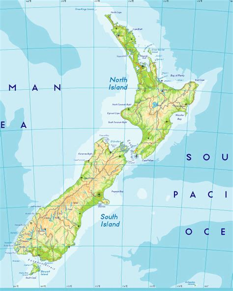 new zealand physical map physical map of new zealand new zealand atlas